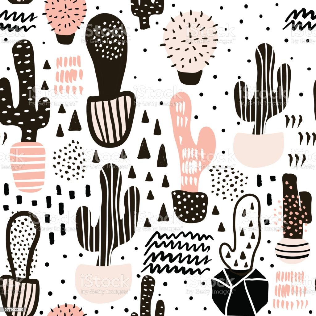Seamless pattern with cactuses and hand drawn textures.Perfect for fabric,textile.Vector background vector art illustration