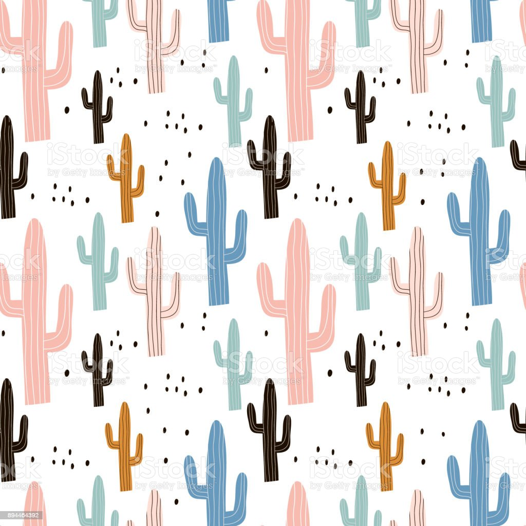 Seamless pattern with cactuses and hand drawn textures.Perfect for fabric,textile.Vector pastel background vector art illustration