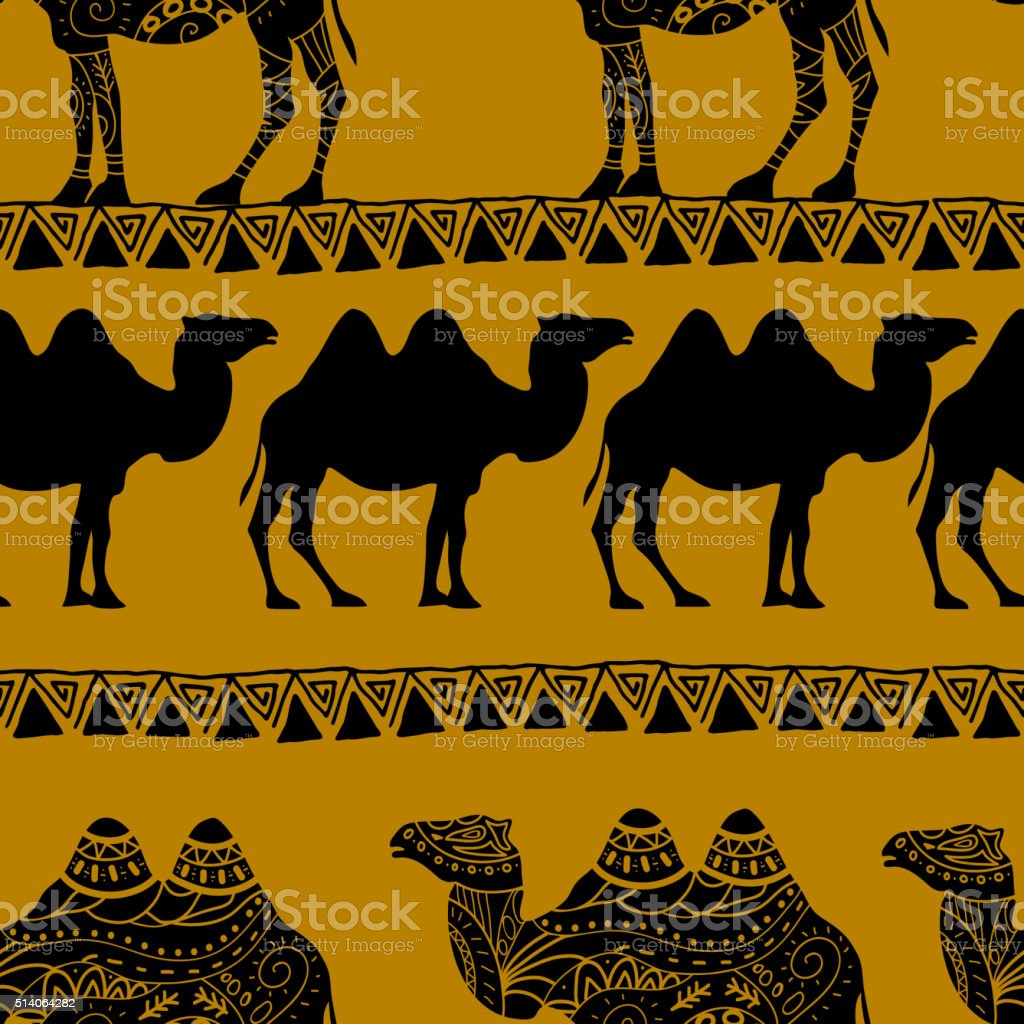 Seamless pattern with camel silhouette vector art illustration