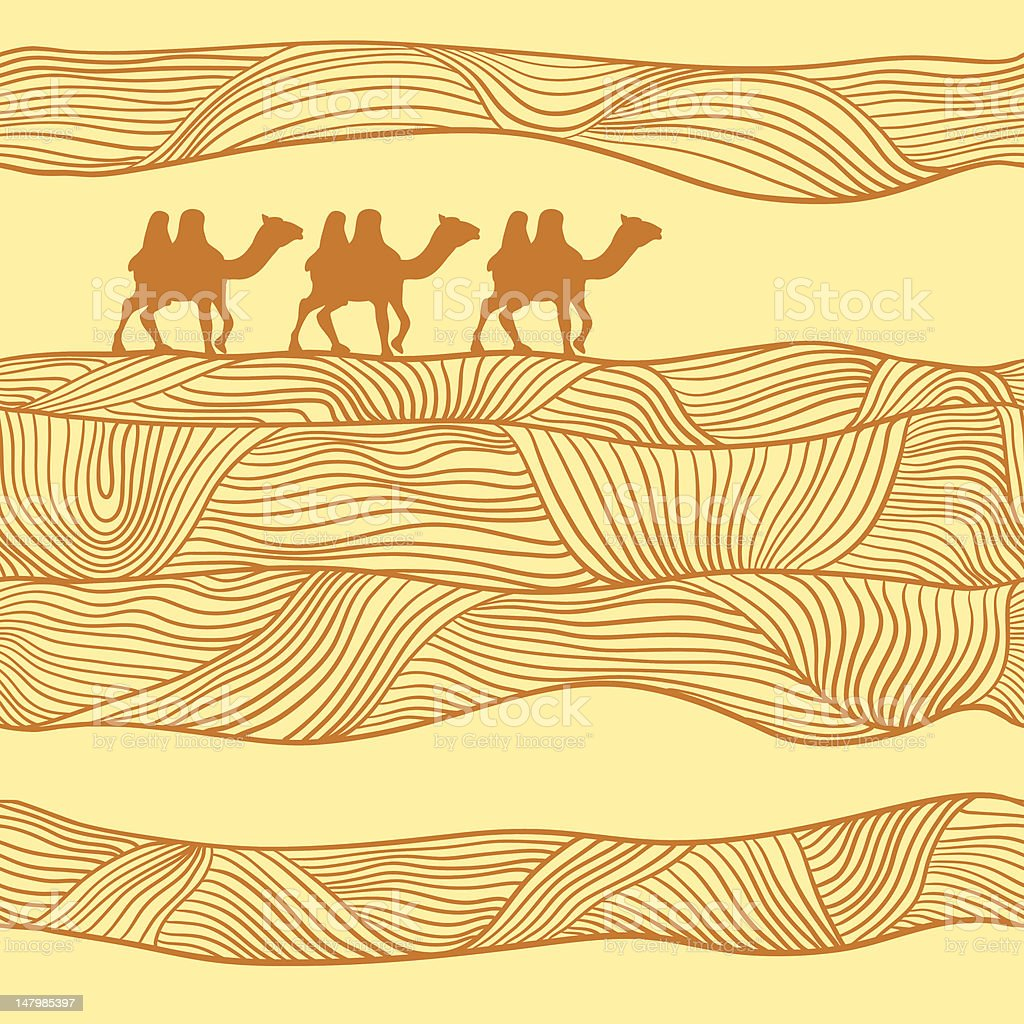Seamless Pattern With Camels. vector art illustration