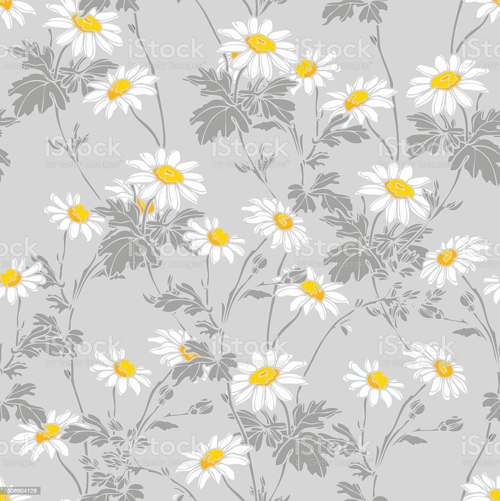 Seamless pattern with Camomile flowers vector art illustration