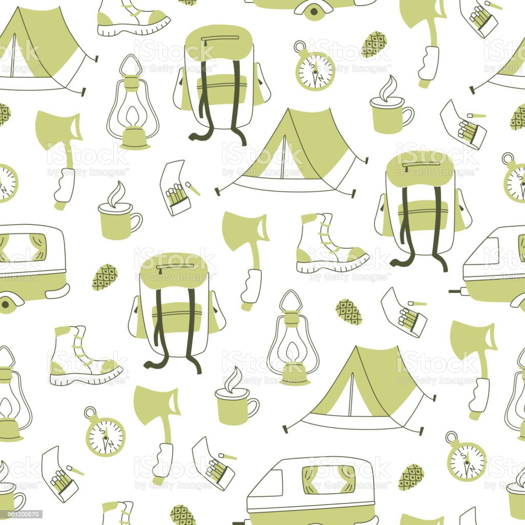Camping Hand Drawn Vector Seamless Pattern. Travel Doodles: Tent,...