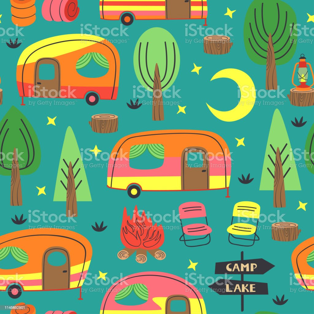 seamless pattern with camping trailer - vector illustration, eps