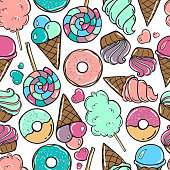 Seamless pattern with candy, donuts sweet icecream and other elements. Vector background in comic style.