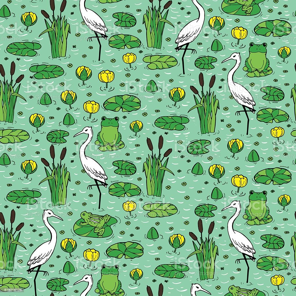 Seamless pattern with canes, herons and lillies. Swarm life. vector art illustration