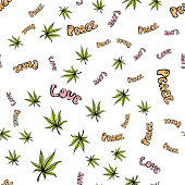 Seamless pattern with cannabis leaf ,peace, love. Hand drawn, white background,vector illustration