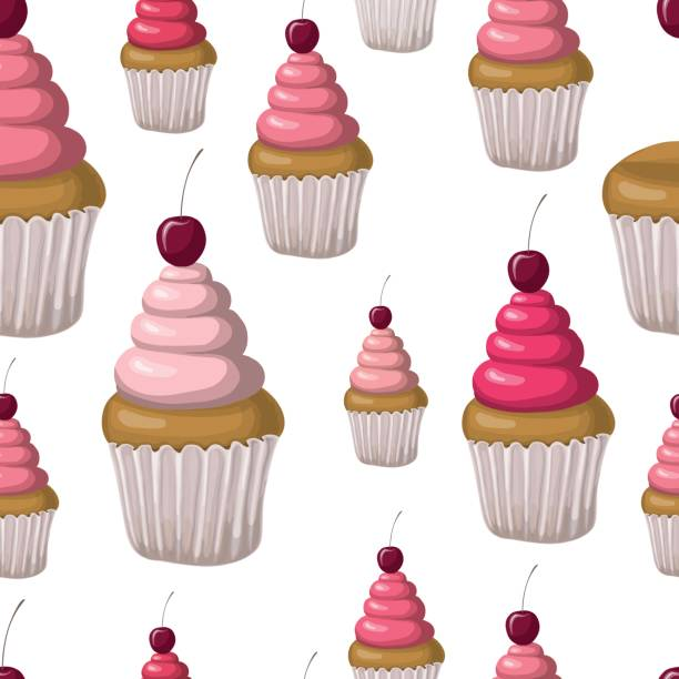 Seamless pattern with capcakes vector art illustration
