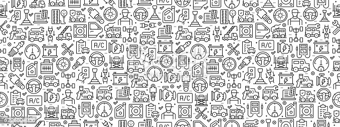 Seamless Pattern with Car Service Icons