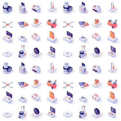 Seamless Pattern with Car Service Isometric Icons