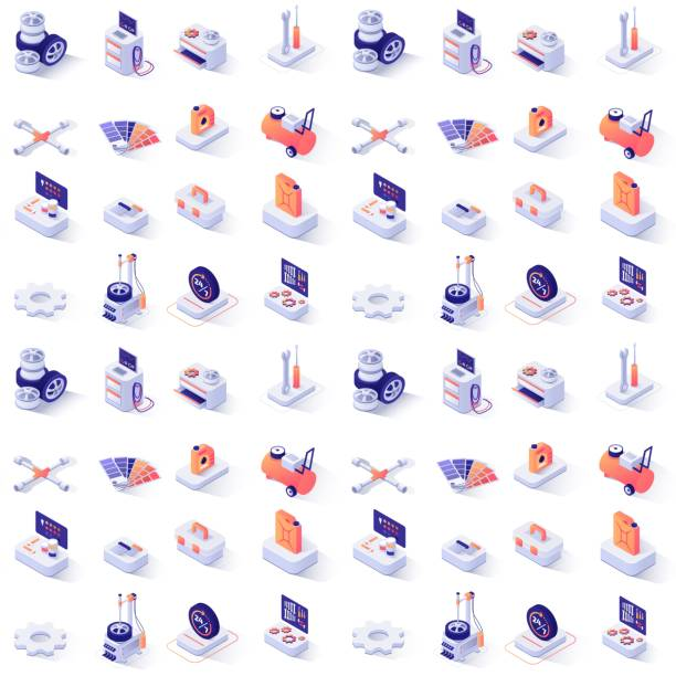nahtloses muster mit auto-service isometrische ikonen - isometric icons stock-grafiken, -clipart, -cartoons und -symbole
