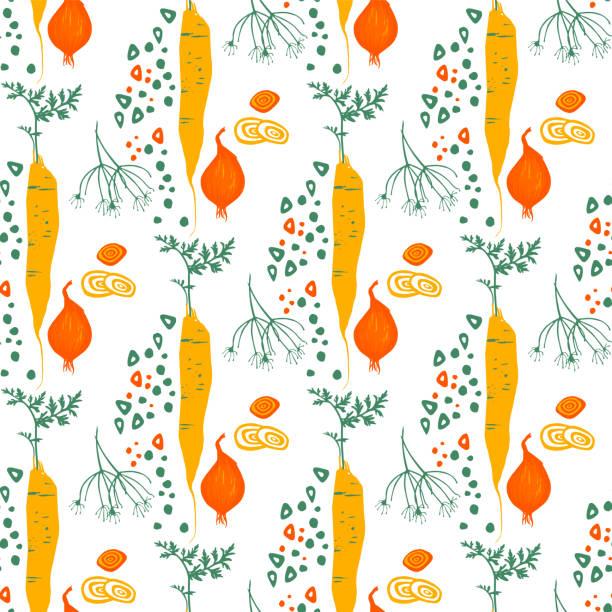 ilustraciones, imágenes clip art, dibujos animados e iconos de stock de patrón sin fisuras con eneldo de zanahorias cebolla y pimentón - comida casera