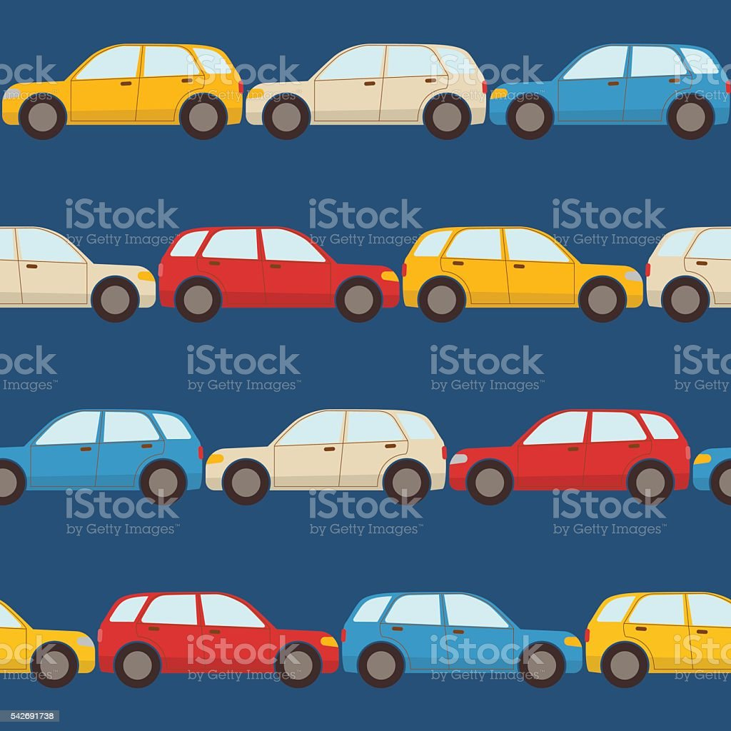 Seamless pattern with cars vector art illustration