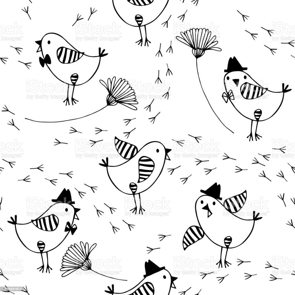 Seamless Pattern With Cartoon Birds Flowers And Traces On A White