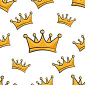 Seamless pattern with cartoon crown on a white background