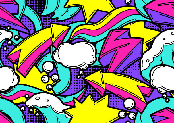 Seamless pattern with cartoon decorative elements. Urban colorful teenage creative background. Seamless pattern with cartoon decorative elements. Urban colorful teenage creative background. Fashion symbol in modern comic style. graffiti background stock illustrations