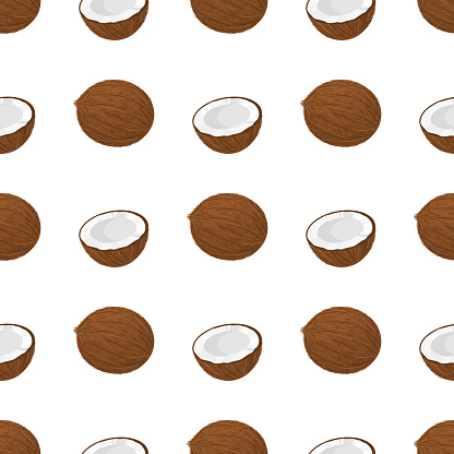 Seamless pattern with cartoon detailed brown exotic whole and half coconut. Summer fruits for healthy lifestyle. Organic fruit. Vector illustration for any design.