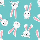 Seamless pattern with cartoon Easter bunnies, face of rabbits on turquoise background. Vector illustration