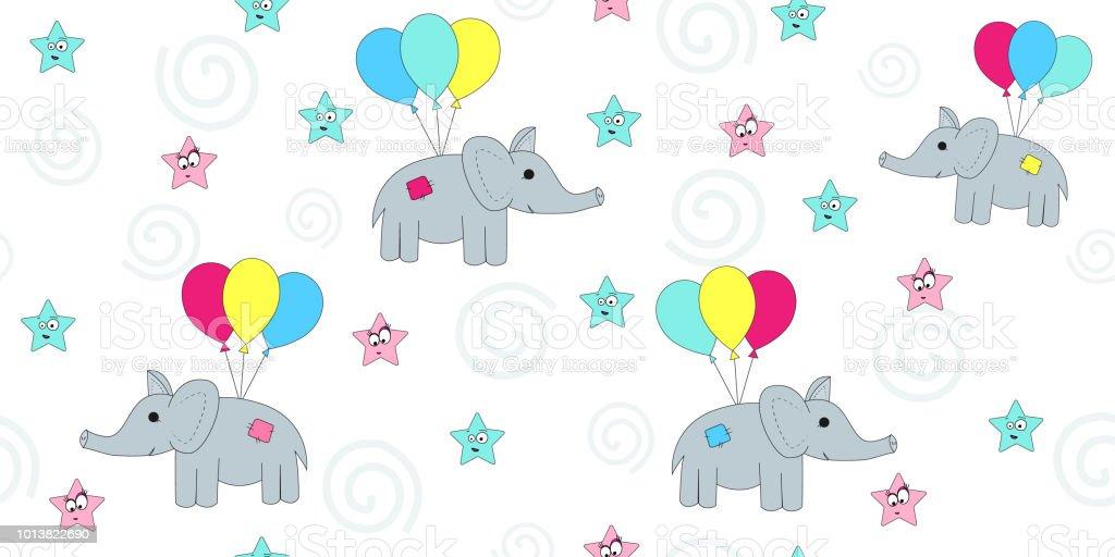 Modele Sans Couture Avec Les Elephants De Dessin Anime De Vol Sur