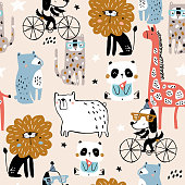 Seamless pattern with cartoon hand drawn bear,giraffe, dog,leopard, lion, panda. Creative childish pink texture. Great for fabric, textile Vector Illustration