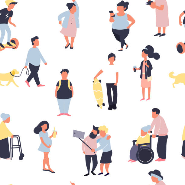 seamless pattern with cartoon people walking on street. crowd of male and female tiny characters. colorful vector seamless pattern in trandy flat style for wallpaper, fabric print. - old man illustration pictures stock illustrations, clip art, cartoons, & icons