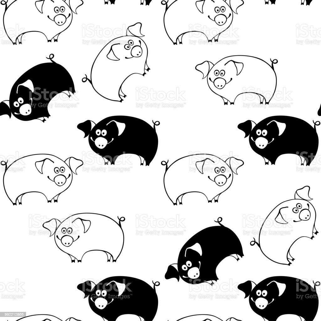 Seamless Pattern With Cartoon Pigs On A White Background Black And