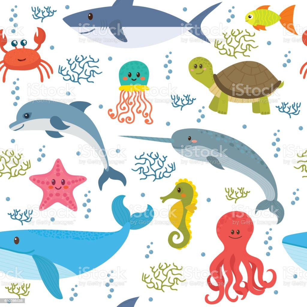 Seamless pattern with cartoon sea life animals. Underwater...