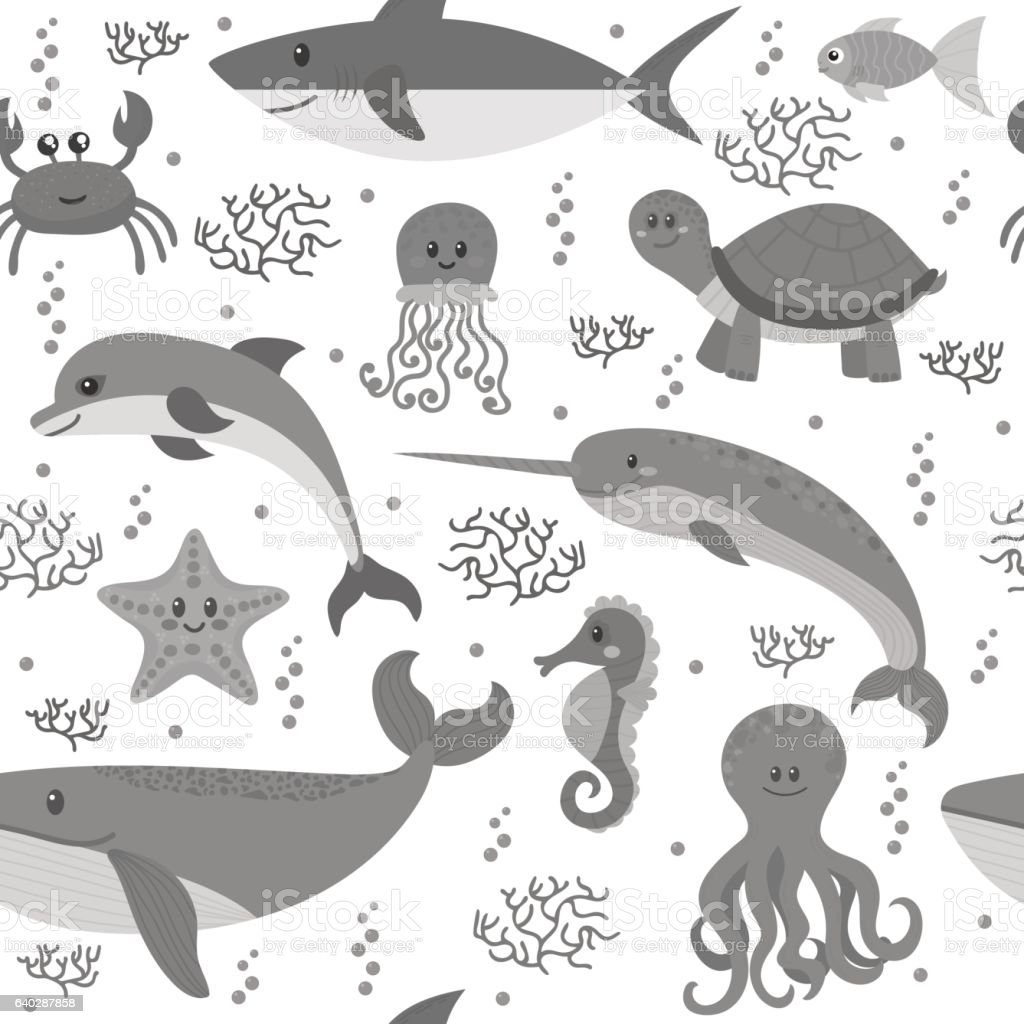 Seamless pattern with cartoon sea life animals. Underwater...