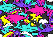 Seamless pattern with cartoon sharks. Urban colorful teenage creative background.