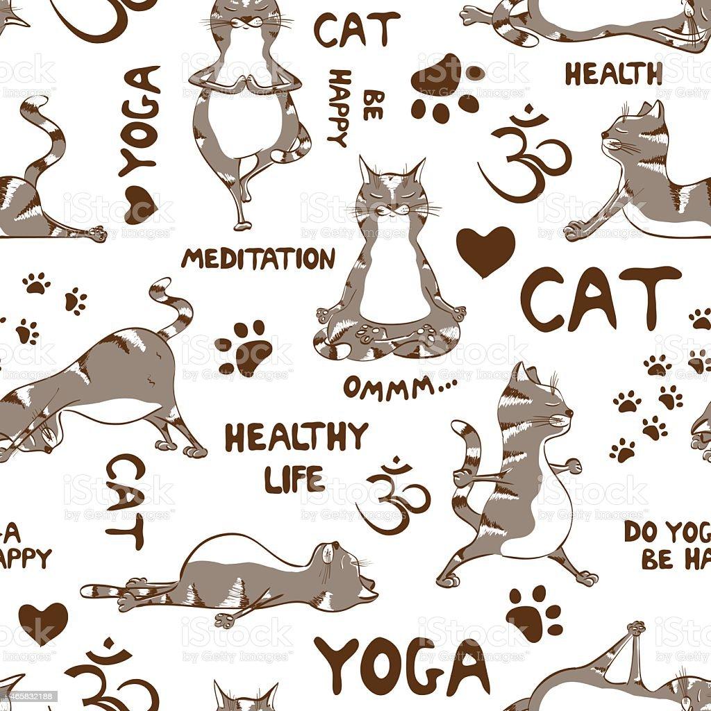Ilustración de Patrón Sin Costuras Con Cat Haciendo Yoga Posición y ...