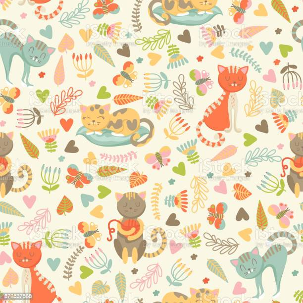 Seamless pattern with cats and flowers vector id872537568?b=1&k=6&m=872537568&s=612x612&h=6aekct4gfbqqlv5h79wuprtwg0jffmbirwu4 lfunmy=