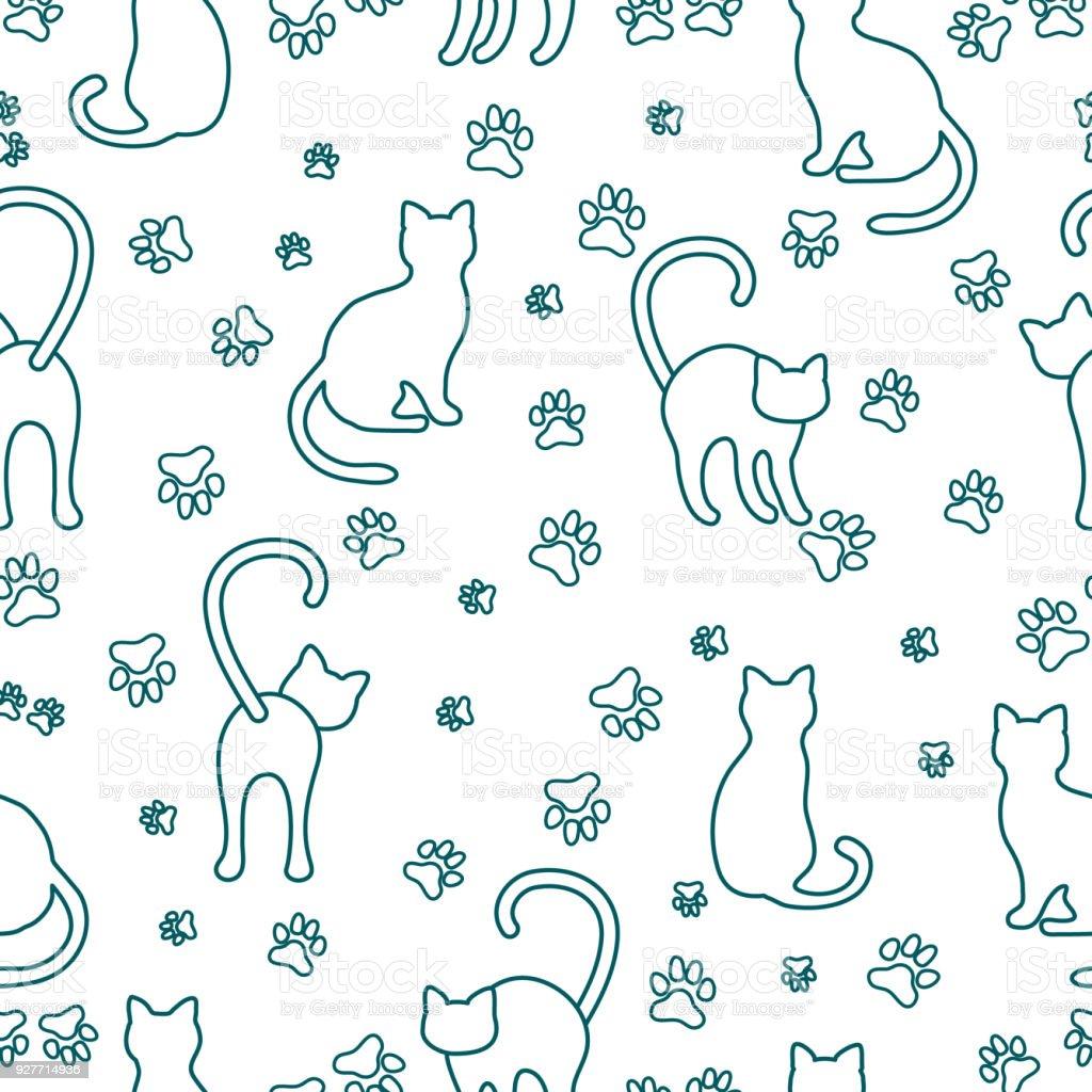 Ilustración de Patrón Sin Fisuras Con Gatos Y Rastros y más banco de ...