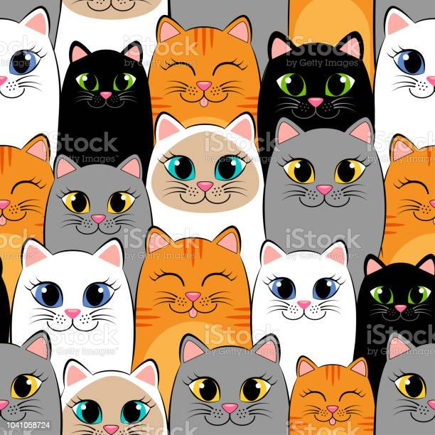 Seamless pattern with cats background with gray white black ginger vector id1041058724?b=1&k=6&m=1041058724&s=612x612&h=g6ootxh6ug7bjfcuv24kghtaeh8q6ucagv7vjbs2d w=