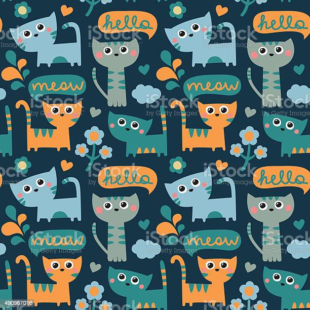 Seamless pattern with cats cloud hello and meow and flowers vector id490967016?b=1&k=6&m=490967016&s=612x612&h=husstgev5tltyl196xpt0bppzf qrk3t2q5n7xcgzds=