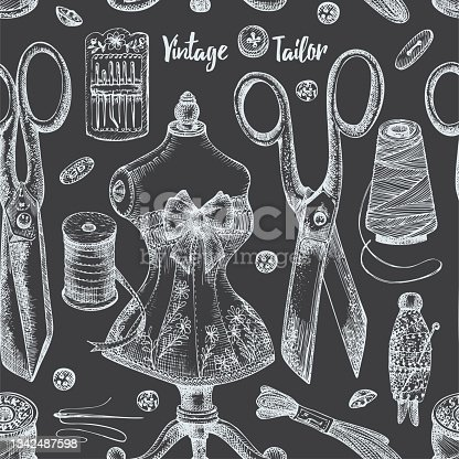 istock Seamless pattern with chalk hand-drawn vintage sewing tools on chalkboard Scissors, buttons, threads, needles, pins, spools, tailor meter, lace Sketch engraving. Retro digital paper, old fabric Vector 1342487598