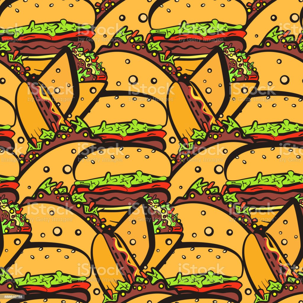 Seamless pattern with chaotic fastfood symbols vector art illustration