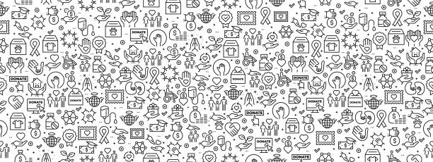 Seamless Pattern with Charity Icons Seamless Pattern with Charity Icons community backgrounds stock illustrations