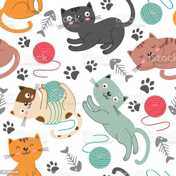 Seamless pattern with cheerful cats vector id877830546?b=1&k=6&m=877830546&s=612x612&h=ywpmunp7et3yjk q8opms fb 9su7vyxdju6bq sb9c=