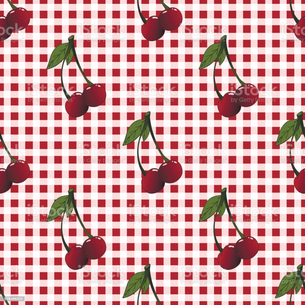A seamless pattern with cherries and heaves placed randomly royalty-free a seamless pattern with cherries and heaves placed randomly stock vector art & more images of backgrounds