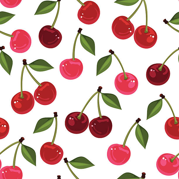 Seamless pattern with cherry. Vector illustration. Vector seamless pattern with ripe cherries and leaves on a white background. cherry stock illustrations