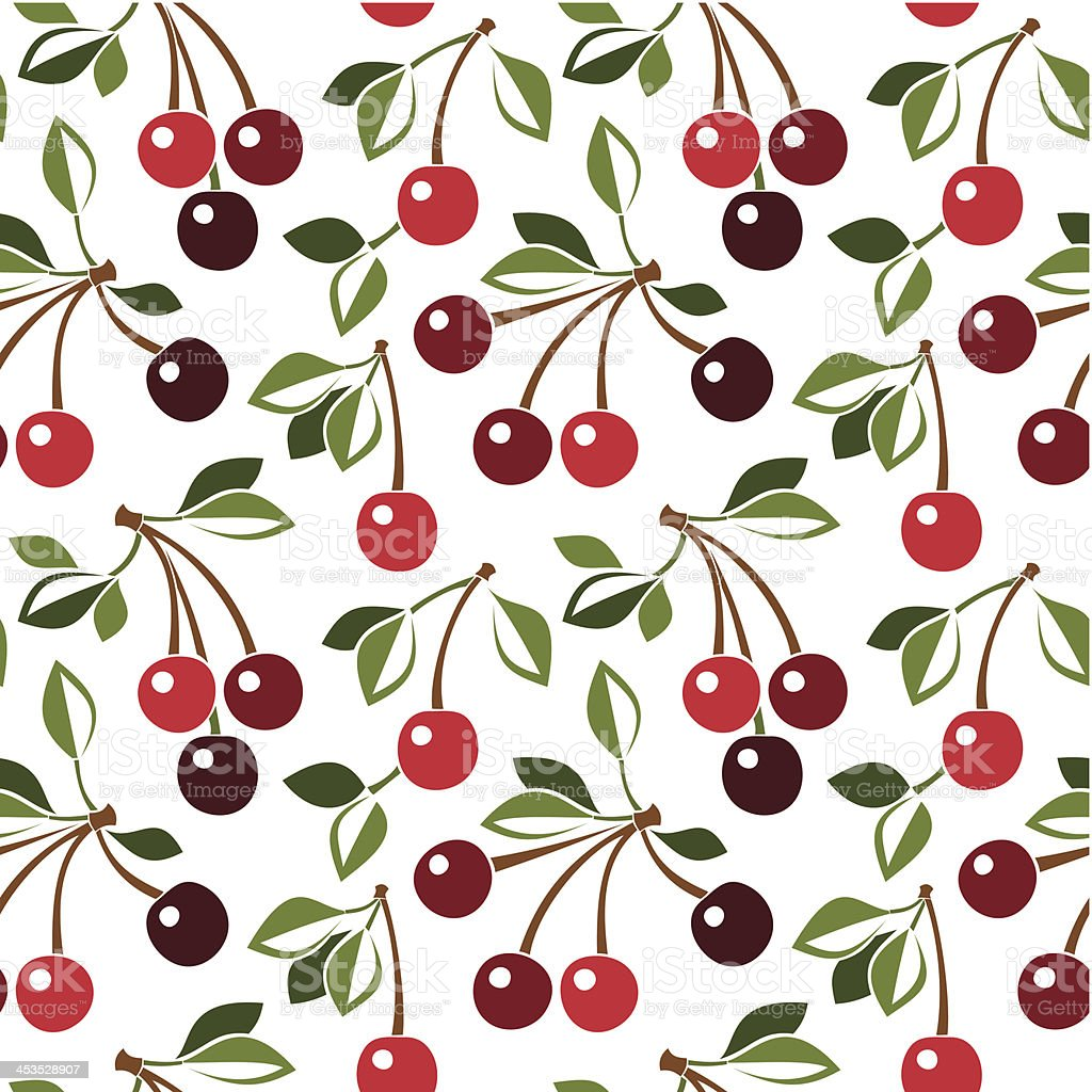 Seamless pattern with cherry. Vector illustration. royalty-free stock vector art