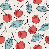 Seamless pattern with cherry. Vector illustration.