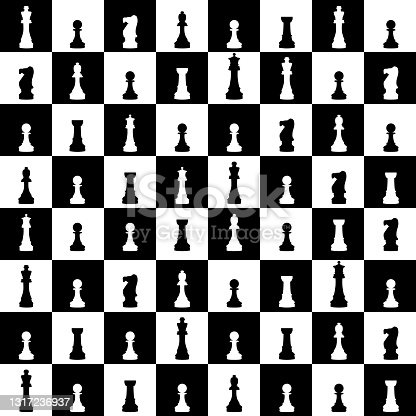 istock Seamless pattern with chess figures. 1317236937