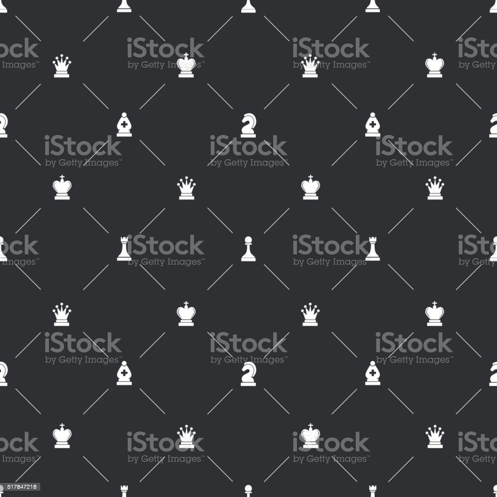 Seamless pattern with chess icons for book endpaper vector art illustration