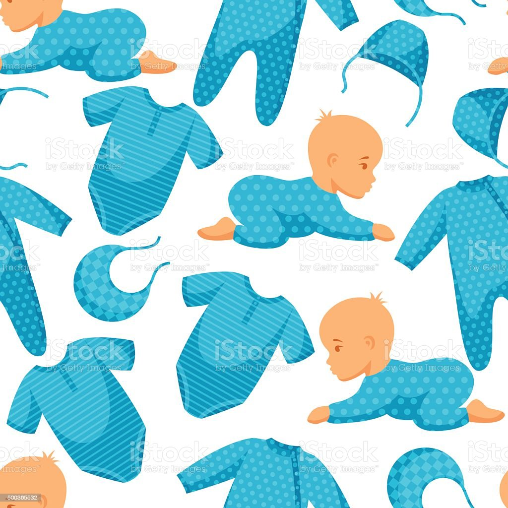 Seamless pattern with child and clothing in blue tones vector art illustration