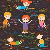 seamless pattern with child art on asphalt - vector illustration, eps