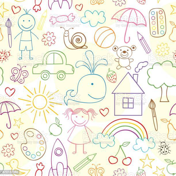 Seamless pattern with child drawings vector id670137384?b=1&k=6&m=670137384&s=612x612&h=2x5pwft1ljfibugpcc1zfkwa7lz3bxs4lyjwbl x8qm=