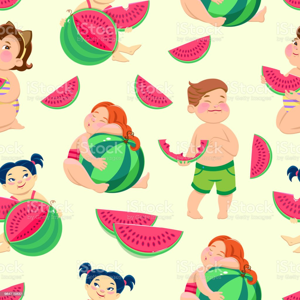 seamless pattern with children eating watermelon royalty-free seamless pattern with children eating watermelon stock vector art & more images of berry