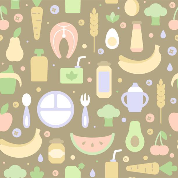 子供とのシームレスなパターン食品秩序の要素 - ベビーフード点のイラスト素材/クリップアート素材/マンガ素材/アイコン素材