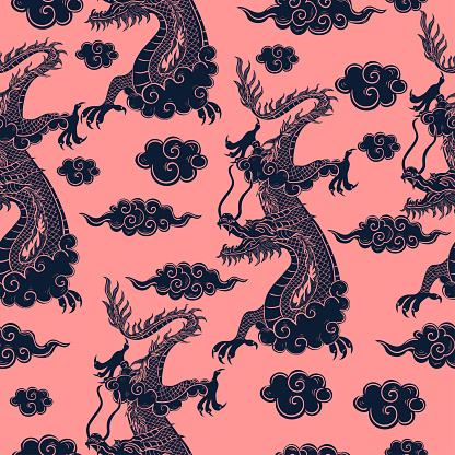 Seamless pattern with Chinese dragon in blue on a pink background. Vector graphics.