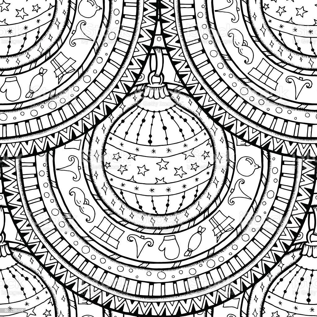 Ilustración de Patrón Sin Costuras De Bolas De Navidad De Mandala y ...
